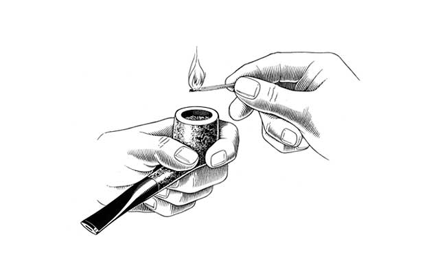 Light the pipe with a wooden match or a butane pipe lighter